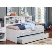 White Twin Bookcase Daybed with 3-Drawers and Trundle
