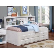 White Twin Bookcase Daybed with 6-Drawers