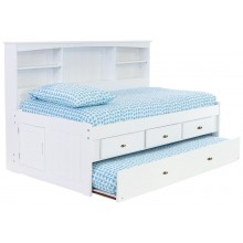 White Twin Bookcase Daybed with 3-Drawers and Trundle Save $120