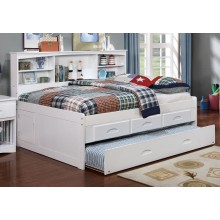 White Full Bookcase Daybed with 3-Drawers and Trundle