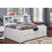 White Full Bookcase Daybed with 6-Drawers
