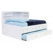 White Full Bookcase Daybed with 3-Drawers and Trundle Save $150