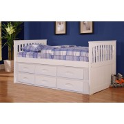 White Rake Bed with 6-Drawers