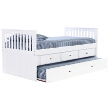 White Rake Bed with 3-Drawers and Trundle Save $150