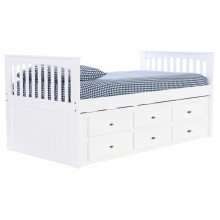White Rake Bed with 6-Drawers Save $150