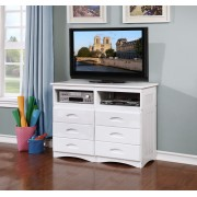 White 6-Drawer Entertainment Dresser