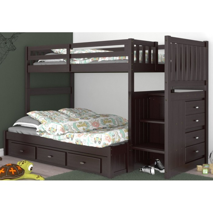 Espresso Twin-Full Mission Staircase Bunk Bed Save $100