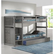 Charcoal Twin-Twin Mission Staircase Bunk Bed