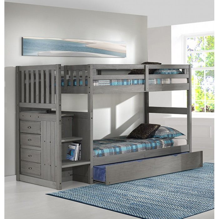Charcoal Twin-Twin Mission Staircase Bunk Bed Save $100