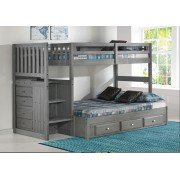 Charcoal Twin-Full Mission Staircase Bunk Bed