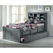 Charcoal Captains Twin Bed with 3-Drawers and Trundle