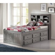 Charcoal Captains Twin Bed with 12-Drawers Save $120