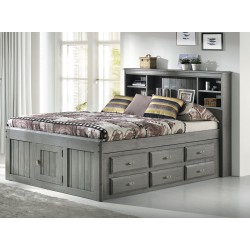 Charcoal Captains Full Bed with 12-Drawers