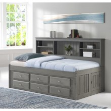 Charcoal Twin Bookcase Daybed with 6 Drawers Save $120