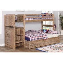 Sand Twin-Full Staircase Bunk Bed