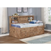 Sand Twin Bookcase Daybed with 6-Drawers