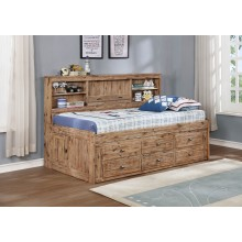 Sand Full Bookcase Daybed with 6-Drawers