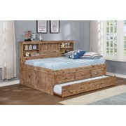 Sand Twin Bookcase  Daybed with 3-Drawers and Trundle