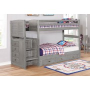 Gray Twin-Twin Staircase Bunk Bed