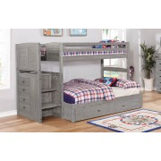 Gray Twin-Full Staircase Bunk Bed