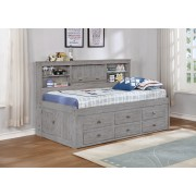 Gray Twin Bookcase Daybed with 6-Drawers