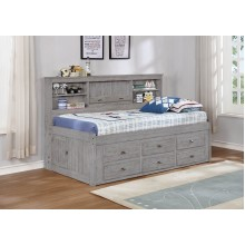Gray Full Bookcase Daybed with 6-Drawers