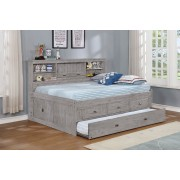 Gray Twin Bookcase Daybed with 3-Drawers and Trundle
