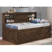 Chestnut Twin Bookcase Daybed with 6-Drawers