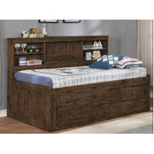 Chestnut Full Bookcase Daybed with 6-Drawers