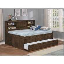 Chestnut Full Bookcase Daybed with 3-Drawers and Trundle