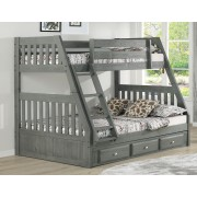 Charcoal Twin-Full Mission Bunk Bed Save $140