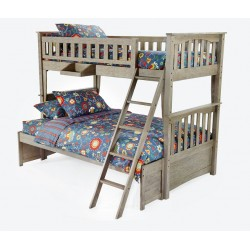 Brushed Driftwood Sailboat Twin-Full Bunk Bed