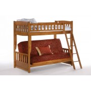 Cinnamon Twin-Futon Medium Oak Bunk Bed