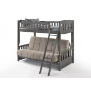 Cinnamon Twin-Futon Stonewash Gray Bunk Bed