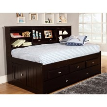 Espresso Twin Bookcase Daybed with 6-Drawers