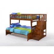 Peppermint Twin-Full Cherry Staircase Bunk Bed