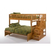 Peppermint Twin-Full Medium Oak Staircase Bunk Bed
