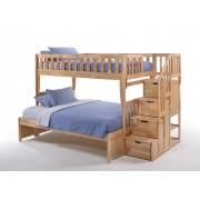 Peppermint Twin-Full Natural Staircase Bunk Bed