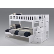 Peppermint Twin-Full White Staircase Bunk Bed