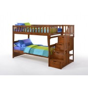 Peppermint Twin-Twin Cherry Staircase Bunk Bed