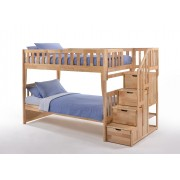 Peppermint Twin-Twin Natural Staircase Bunk Bed