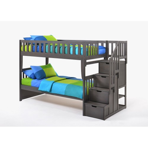 Peppermint Twin-Twin Gray Staircase Bunk Bed