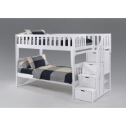 Peppermint Twin-Twin White Staircase Bunk Bed