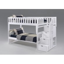Peppermint Twin-Twin White Staircase Bunk Bed Save $200