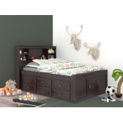 Espresso Captains Full Bed with 12-Drawers