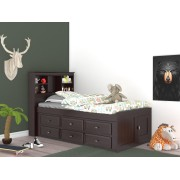 Espresso Captains Twin Bed with 12-Drawers
