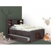 Espresso Captains Full Bed with 3-Drawers and Trundle