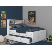 White Captains Full Bed with 3-Drawers and Trundle