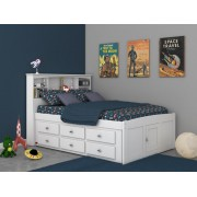 White Captains Full Bed with 6-Drawers