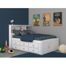 White Captains Full Bed with 6-Drawers Save $140